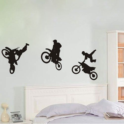 Wall Decals Custom Name Personalized Boys Name Jump Bike Motocross Motorcycle Moto Freestyle Jumping Extreme Sports Nursery Kids Gift Wall Vinyl Decal Stickers Bedroom Murals