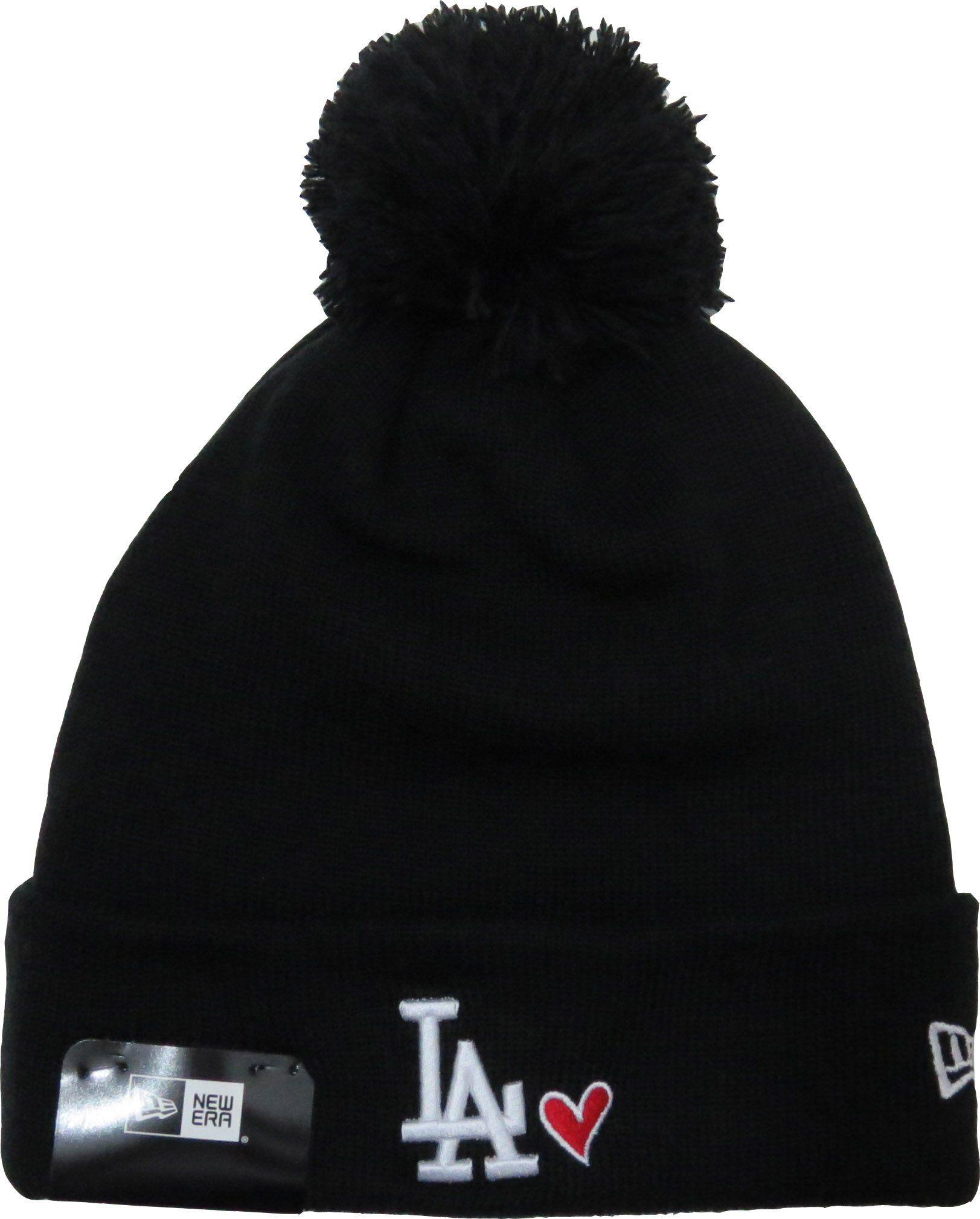 c6b3d8ba LA Dodgers New Era Heart Knit Black Bobble Hat – lovemycap   Winter ...