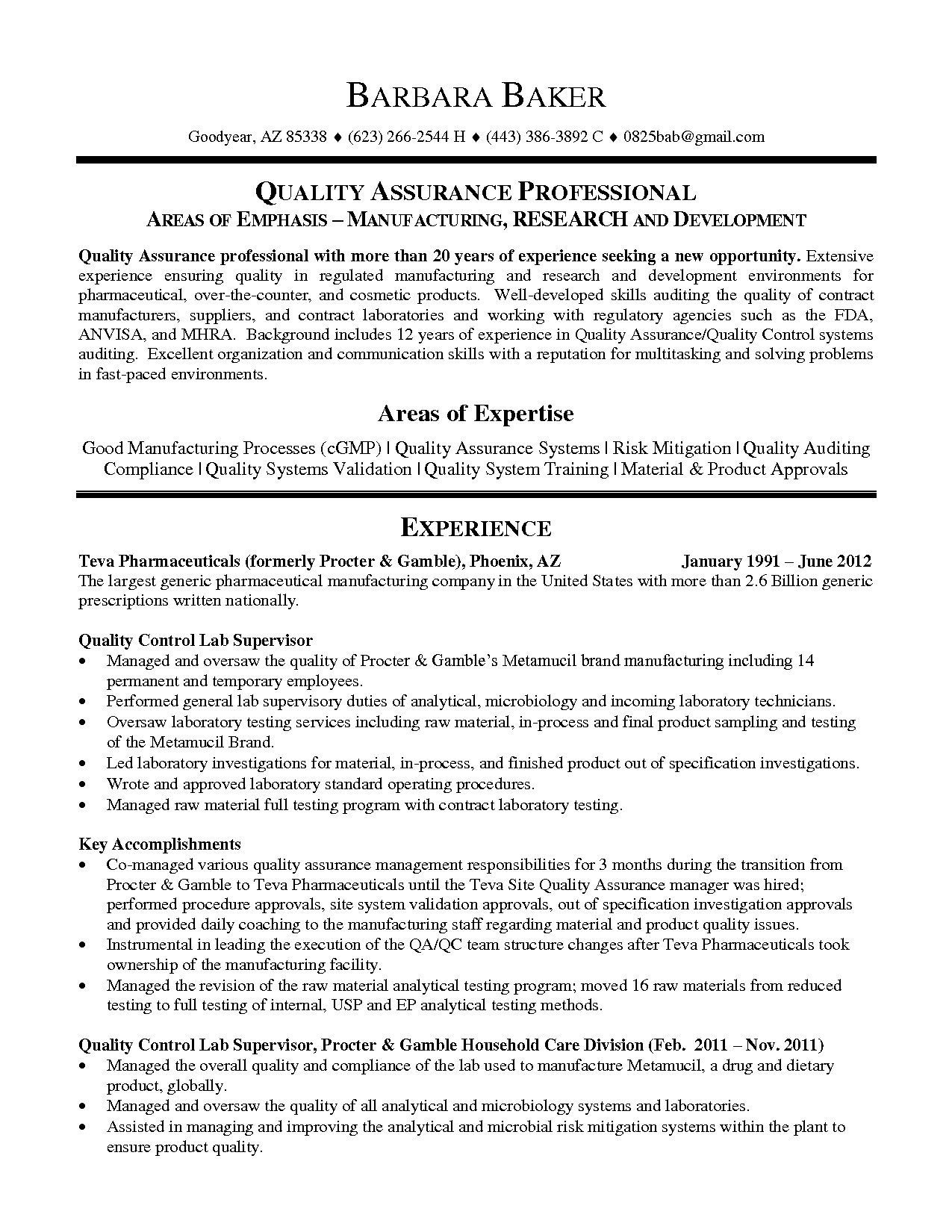Resume Templates Quality Assurance Manager