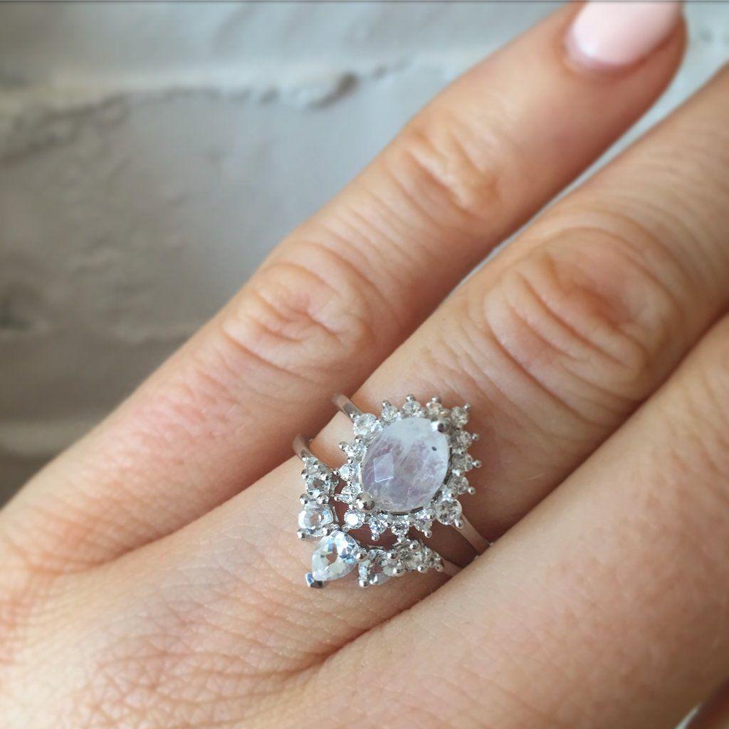 Sterling silver rainbow moonstone u diamond flower burst ring