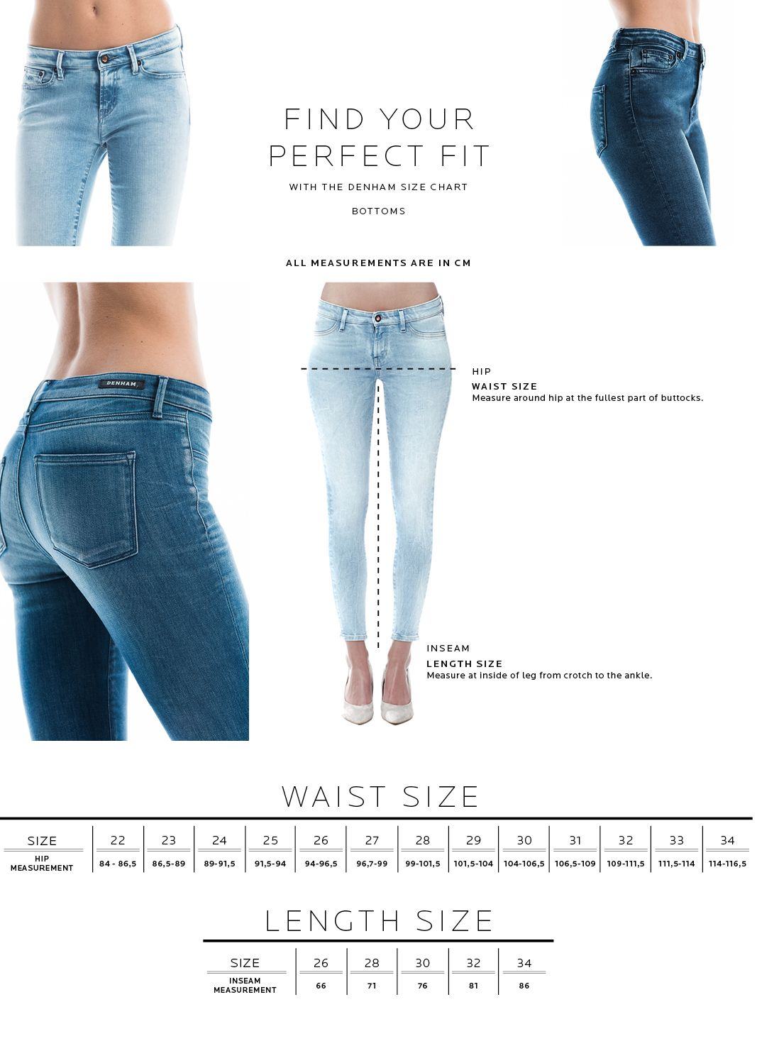 Size Chart Women S Bottoms Fit Guide Denham The Jeanmaker Clothes Women Jeans Online Womens Clothing Boot cut jeans show off your. size chart women s bottoms fit guide