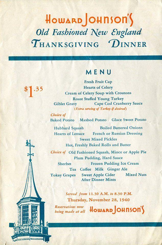 Menu For Thanksgiving Dinner 11 28 40 In 2020 Vintage Menu Diner Menu Vintage Restaurant