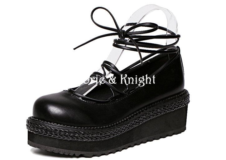 aaef874cab Find More Women s Pumps Information about Japanese Harajuku Black Cross  Bandage Platform Wedge Gothic Lolita Shoes College Style Mori Girls Shoes