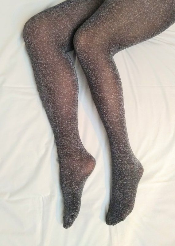 7f75a1006a9 Tights for Women. Silver Glitter Lurex Spandex Sexy Tights. Christmas Gift  Ideas.