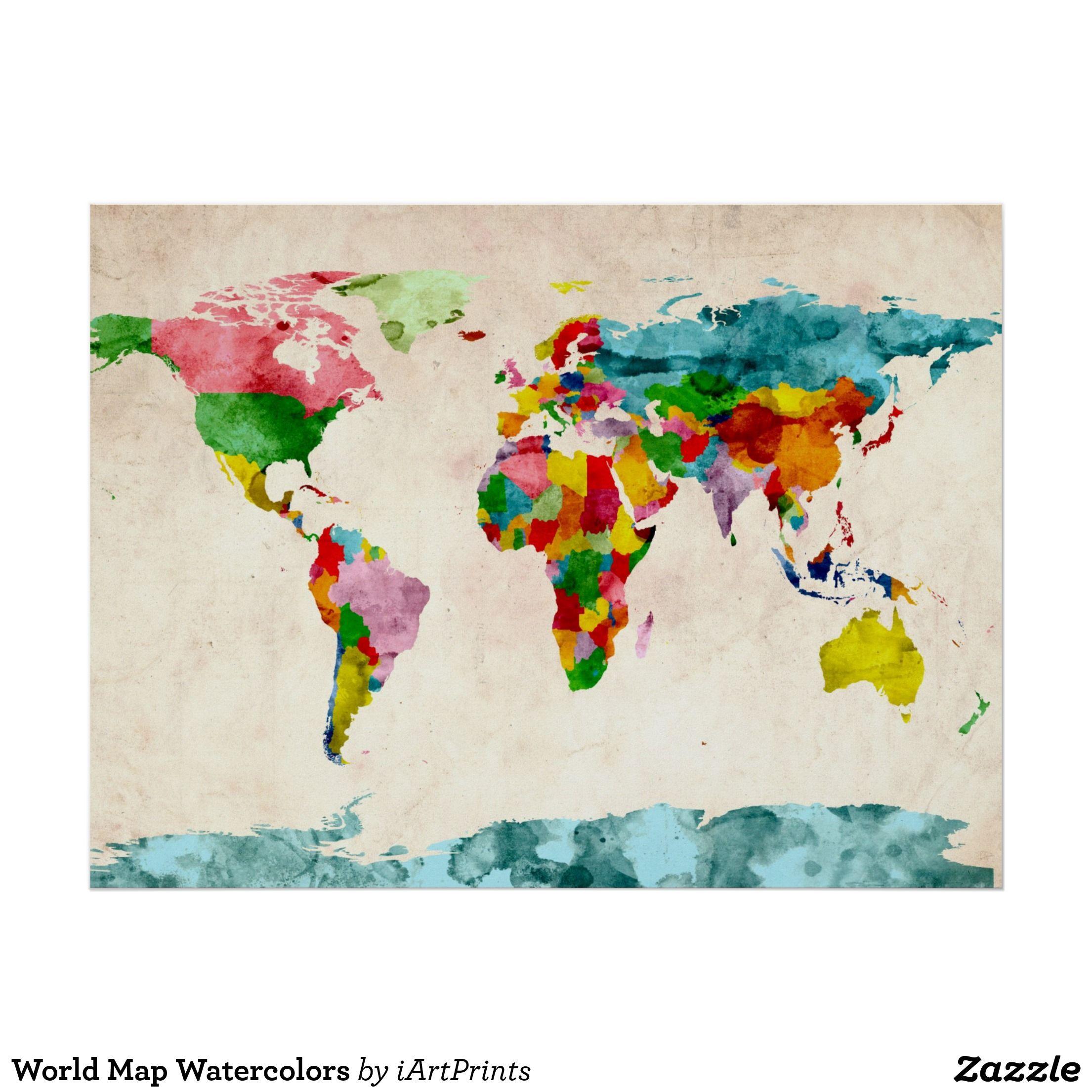 Weltkarte Aquarelle Poster Zazzle De Aquarell Karte Weltkarte