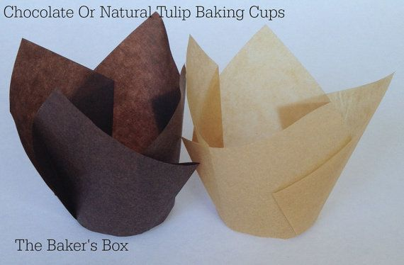 2 X 3 1 2 Chocolate Brown Or Natural Tulip Cupcake Baking Cups Liners Cupcakes Muffin Cup Disposable Birthday Baking Cups Disposable Cups Baking