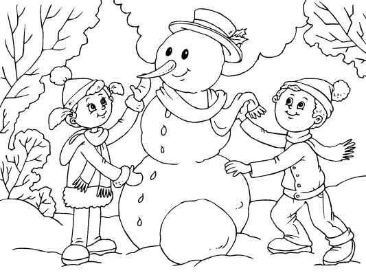 Building A Snowman Coloring Page Omalovanky Deti Skolka