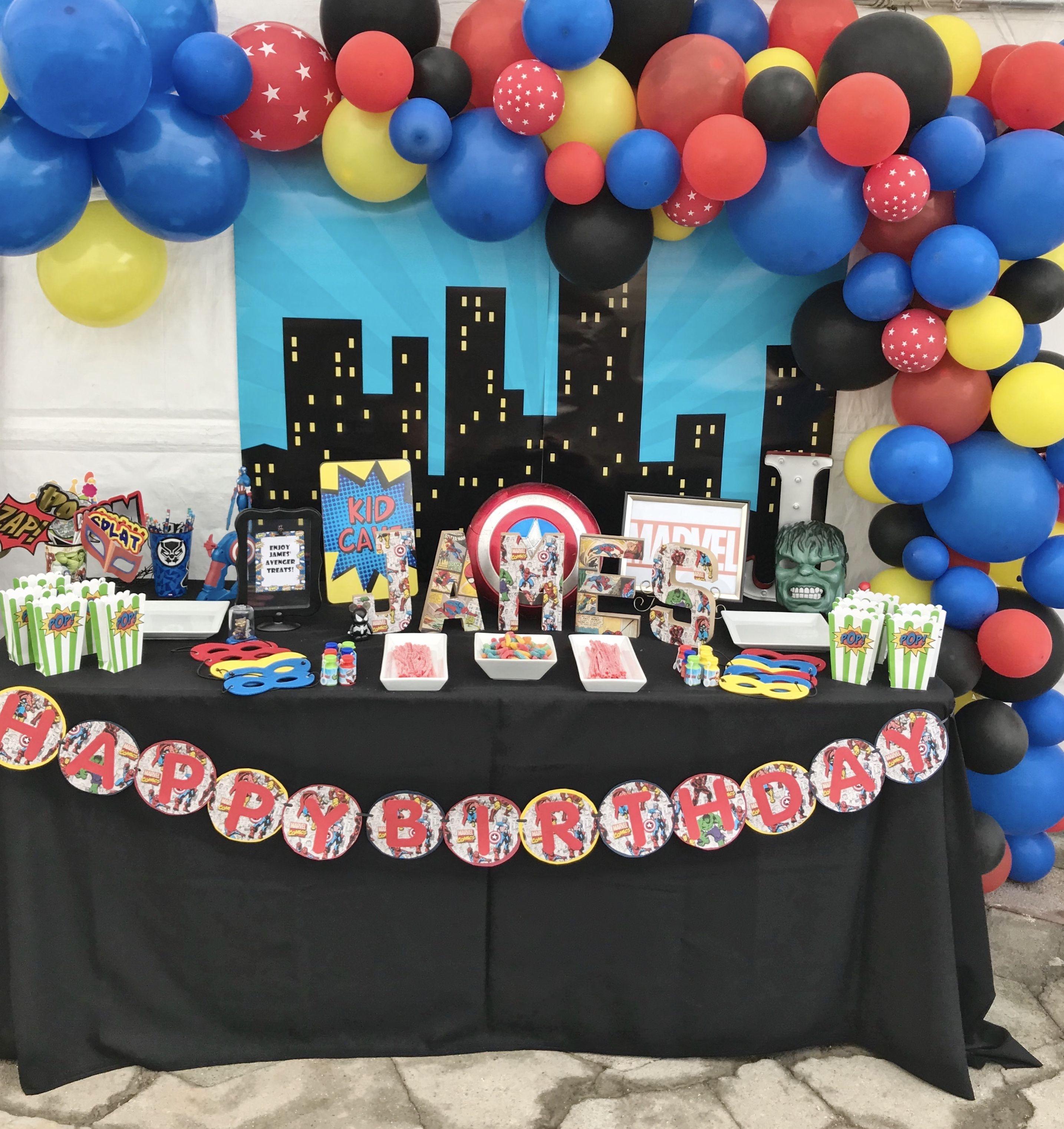 Avengers Dessert Table Birthday Party Decorations Diy Diy Party Decorations Party Decorations