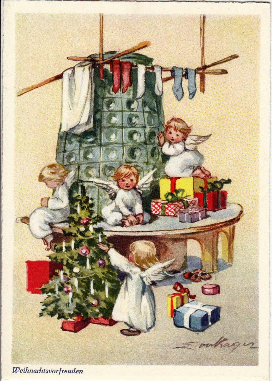Ak weihnachten e kager engelchen mit geschenken am warmen ofen ca 1960 ebay christmas - Bilder weihnachtskarten ...