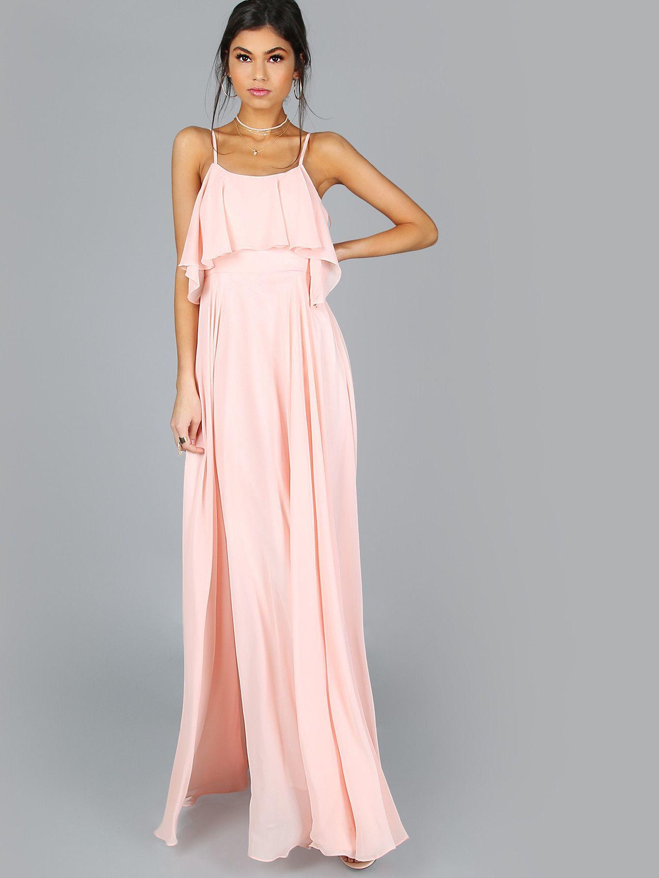 290f3f33da09 Pink Spaghetti Strap Frill Flow Maxi Dress in 2018