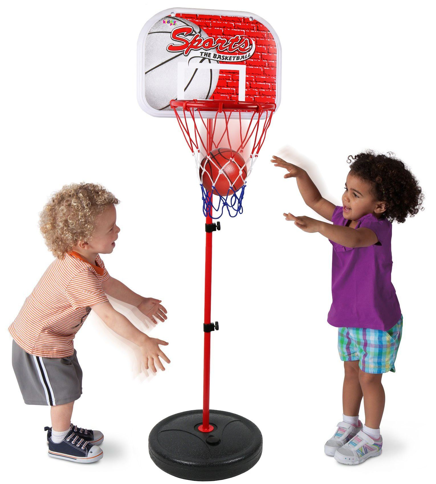 Kiddie Play Basketball Hoop Stand Toy Set For Kids Adjustable Height Up To 4 Ft Basketball Hoop Adjusts To Basketball Hoop Basketball Games For Kids Toy Sets