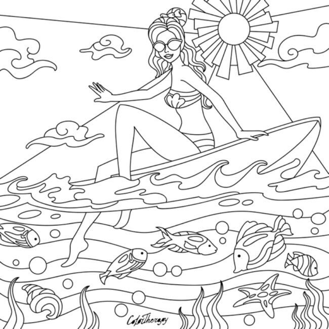 Surfer Girl Color With Color Therapy Http Www Apple Co 1mgt7e5 Colortherapyapp Coloring Adultcolo Fairy Coloring Pages Free Coloring Pages Fairy Coloring