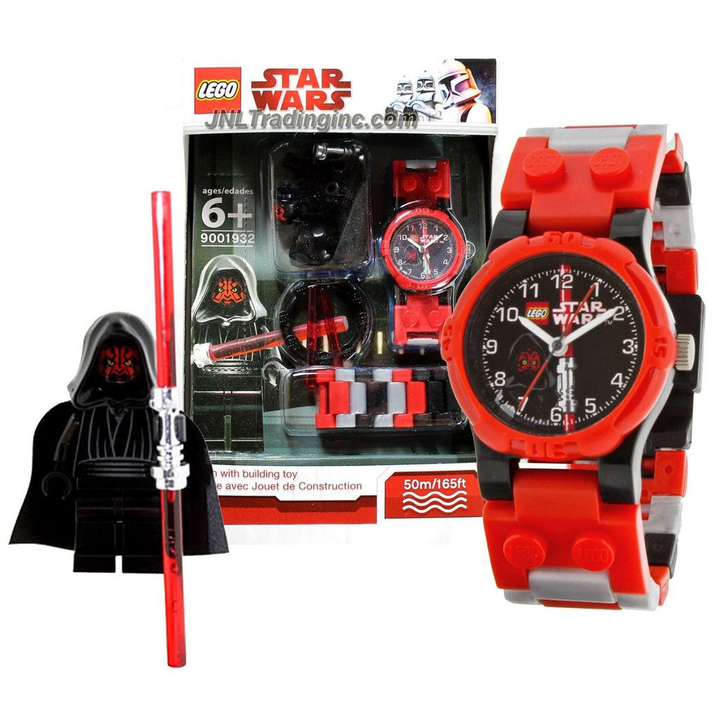 Lego Star Wars Series Watch Set 9001932 Darth Maul Watch Plus Darth Maul Minifigure With Red Double Lightsaber Water Resistant 50m 165ft Lego Star Wars Darth Maul Double Lightsaber
