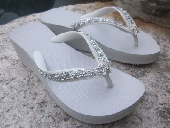 e49cef8c5b7636 Wedding Shoes Flip Flops  Wedges for BrideWhite by RocktheFlops ...