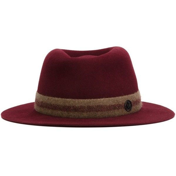 Maison Michel Andre Fedora Hat ($765) ❤ liked on Polyvore featuring accessories, hats, red, brimmed hat, fedora hat, red brim hat, wool fedora hat and red fedora