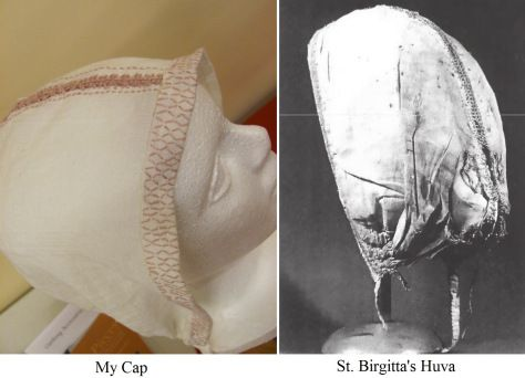 St. Birgitta's cap, and a modern reproduction based upon it.  14th century CE.