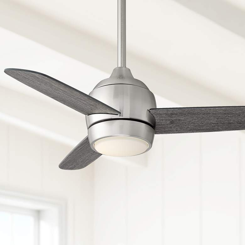36 Chalet Brushed Nickel And Gray Wood Led Ceiling Fan 68r48