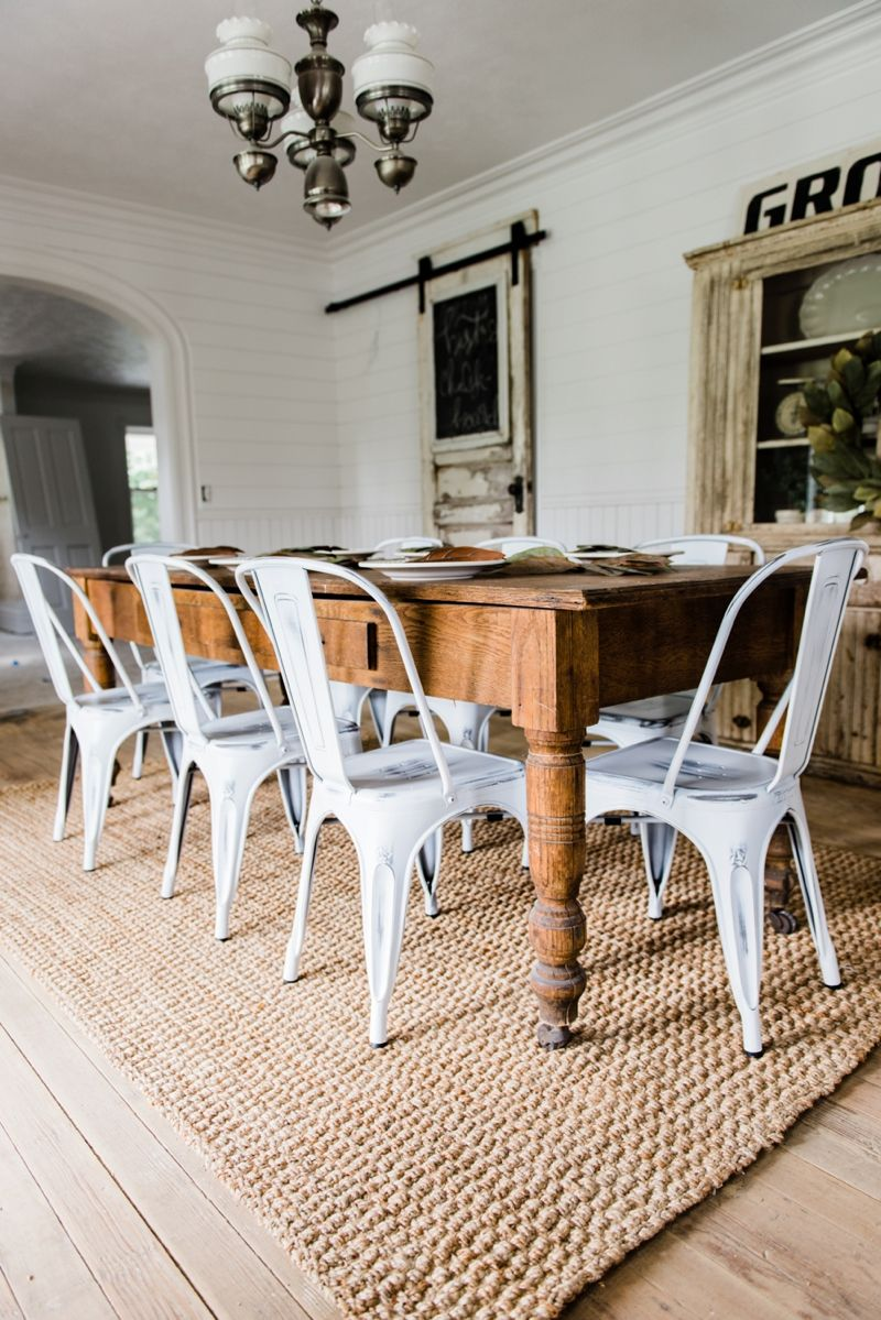 Superbe White Farmhouse Metal Chairs Dining Room Decor By Liz Marie Blog   Farmhouse  Dining Room
