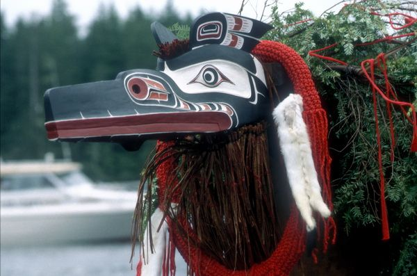 A Kwakiutl mask and dug-out canoe enroute to Bella Bella #aboriginal #NativeAmericans #canoes