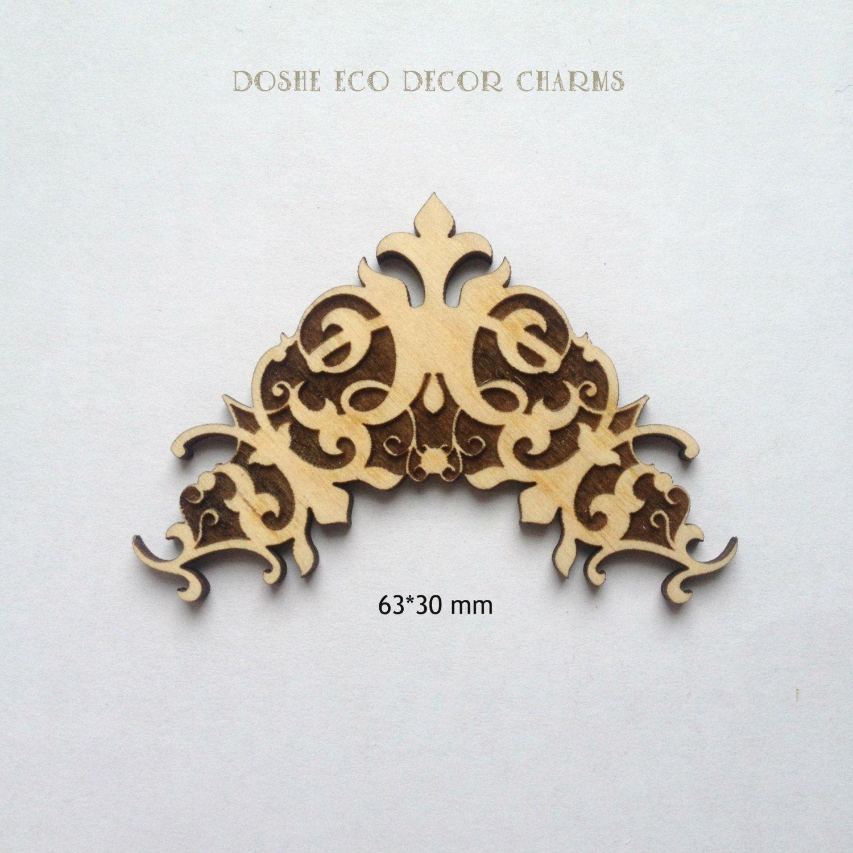 laser engraved wood decorative corner 130 / wood shapes / laser