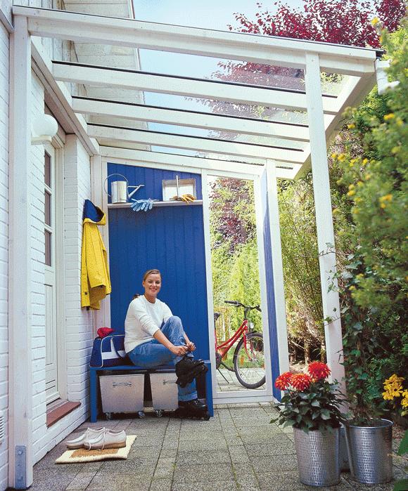 Vordach aus Holz und Glas selber bauen #hausdekoeingangsbereichaussen