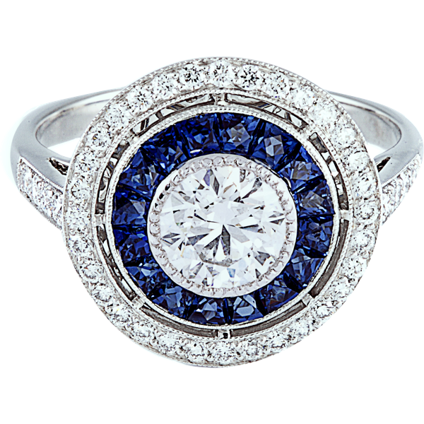 Super Bague Art Deco VICTORINE Or Blanc, Diamants et Saphir. Bague  QR91