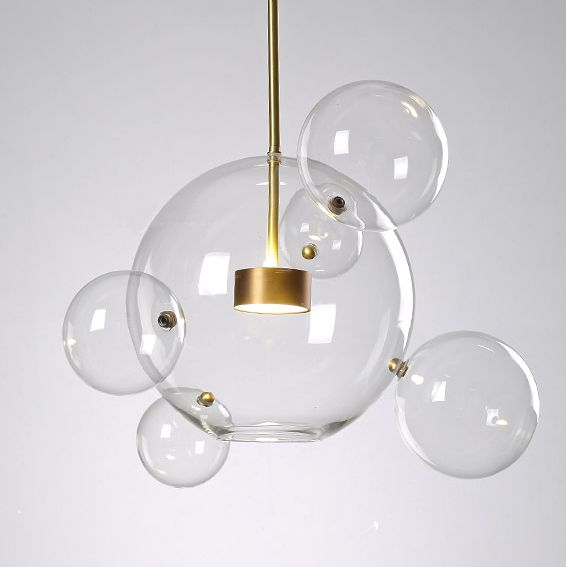 Soap Bubble Clear Glass 3 Light LED Multi Light Pendant with Long/Round Canopy #pendantlighting