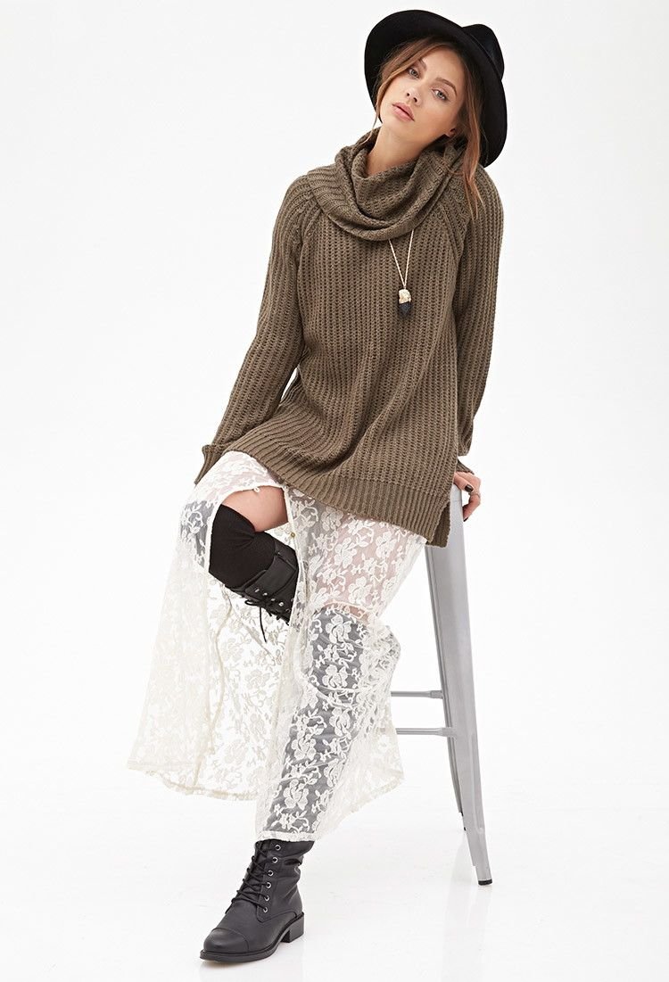 Ribbed Cowl Neck Sweater | Forever 21 - 2000119985 | 20th Birthday ...