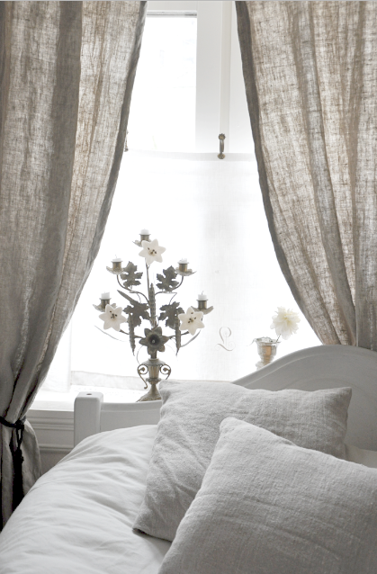 Love the way the light comes through the curtains linens for Linen shades window treatments