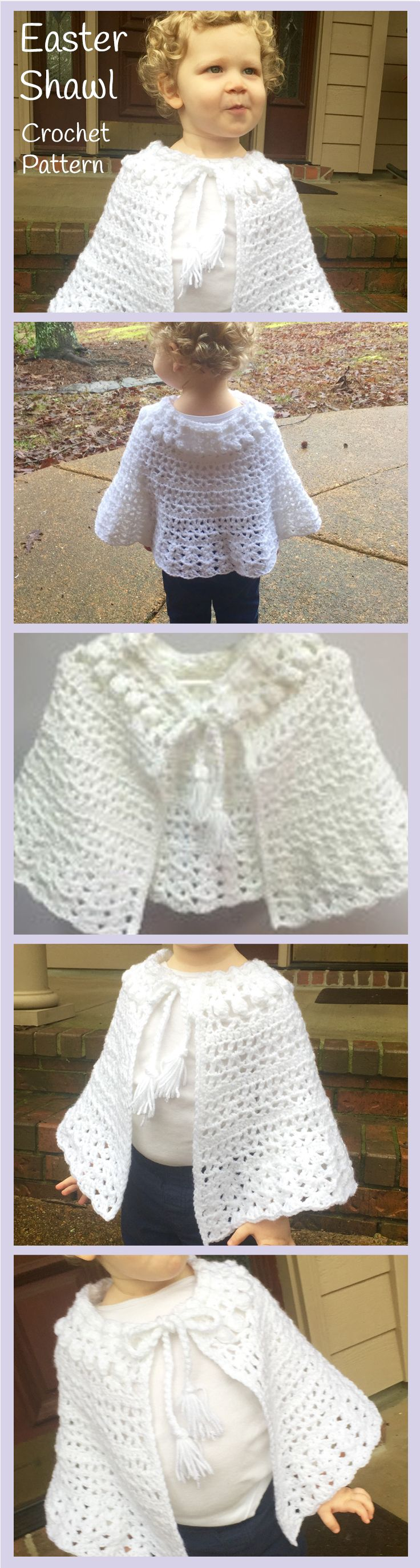 Crochet Pattern - Easter Shawl for Girls | Ponchos, Tejido y Capilla