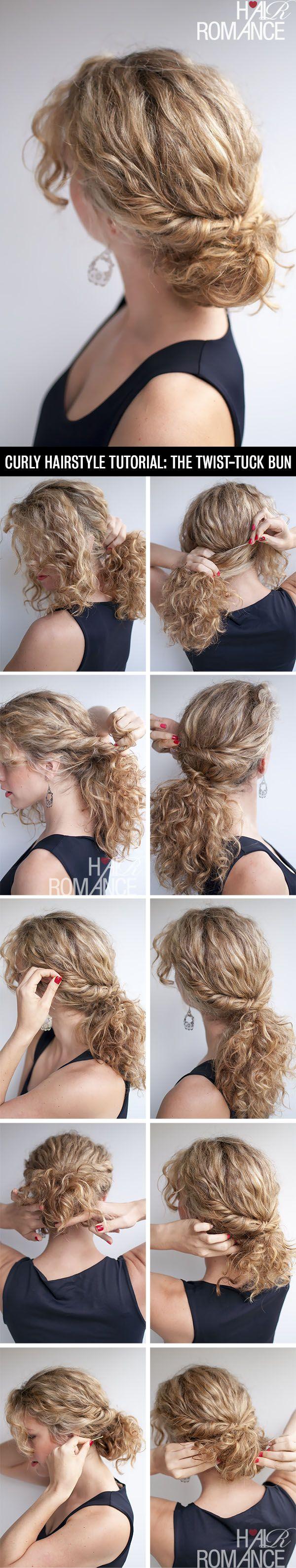 hair romance - curly hairstyle tutorial - the twist-tuck bun