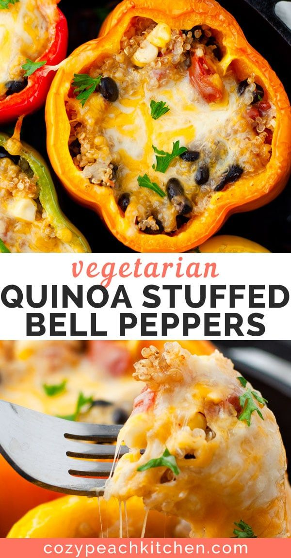 Vegetarian Quinoa Stuffed Bell Peppers Recipe Peppers Recipes Stuffed Peppers Vegetarian Quinoa