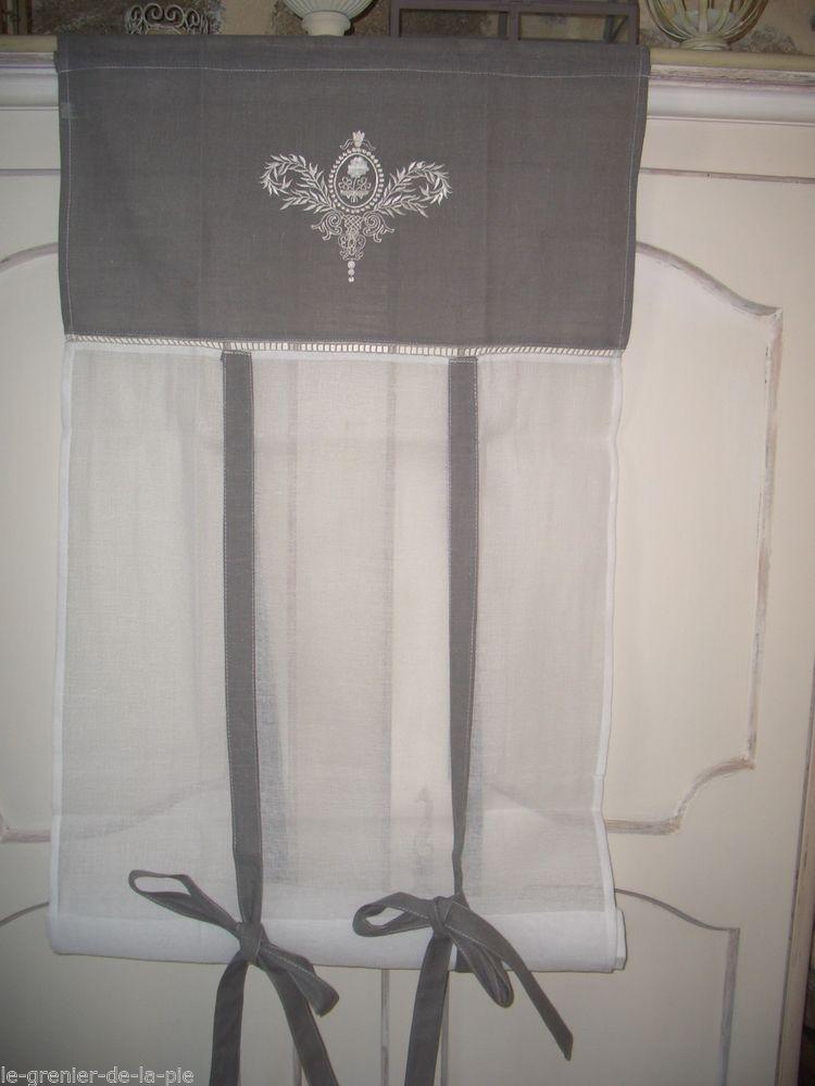 rideau store enrouleur tissu gris blanc broderie. Black Bedroom Furniture Sets. Home Design Ideas