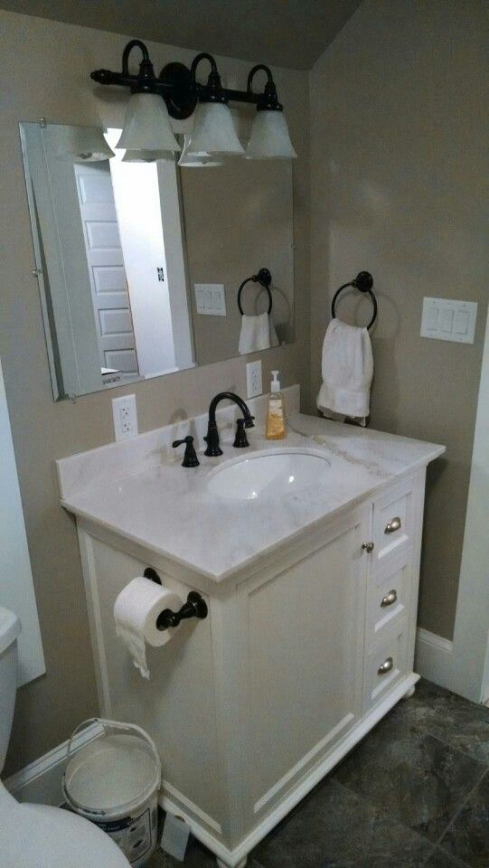 Small Bathroom Ideas Greige Walls Bright White Trim Gray Stone