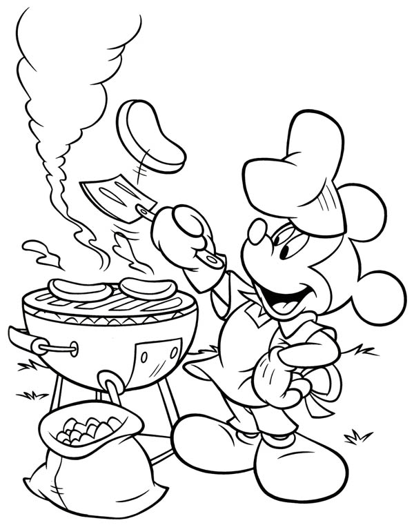 Mickey Mouse Barbeque At Back Yard Coloring Page Color Luna Mickey Mouse Coloring Pages Disney Coloring Pages Cartoon Coloring Pages