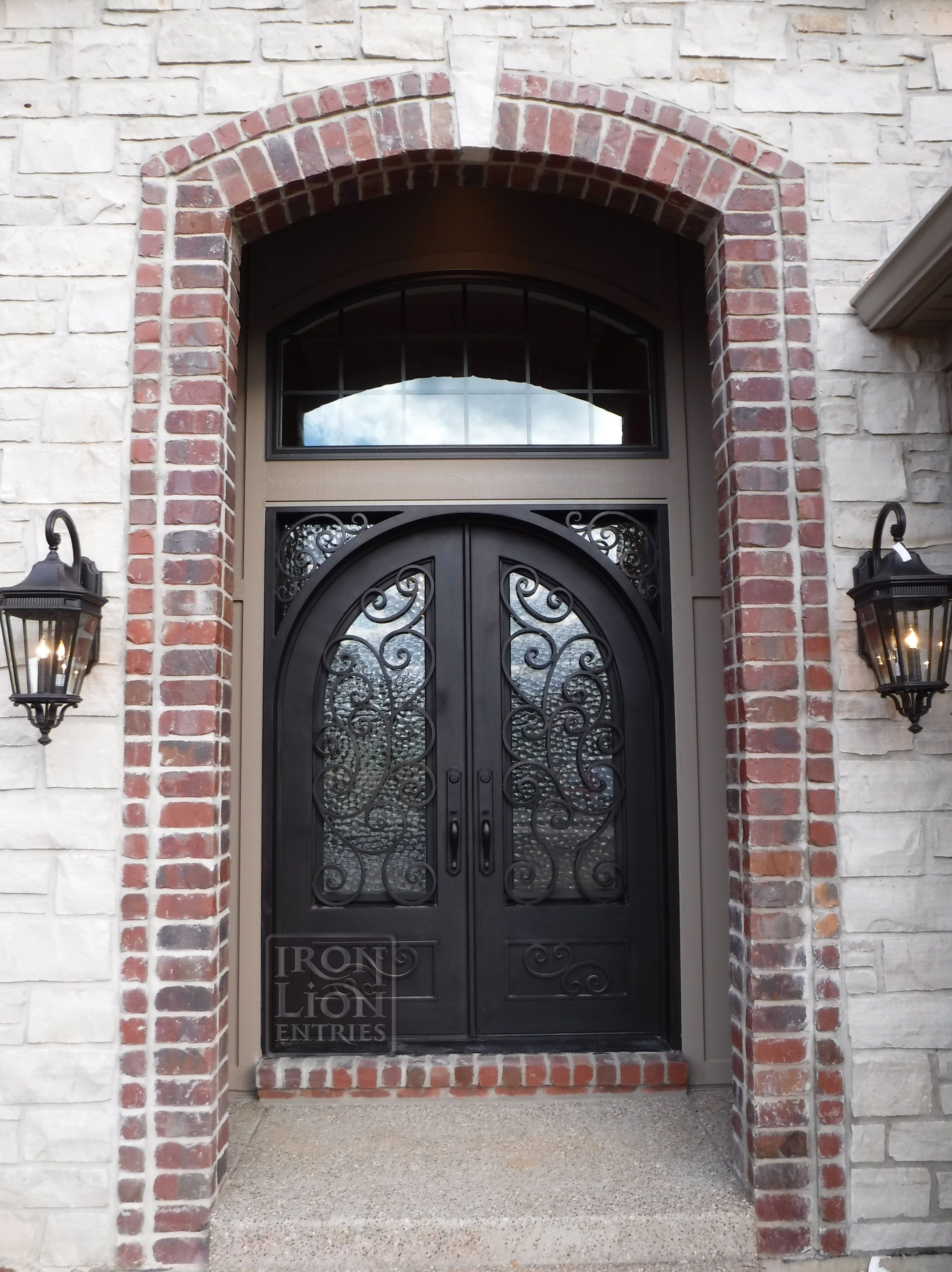 Iron Lion Entries Custom Arch In Square Iron Door Custom Iron