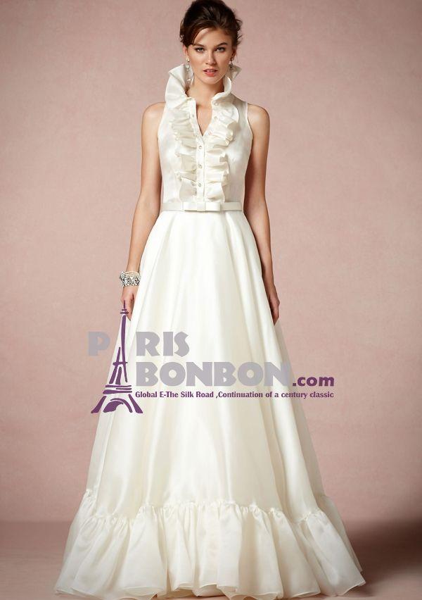 A-line High Neck Floor-length in Organza Charmeuse Wedding Dress ...