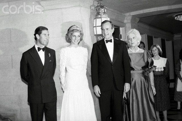 George And Barbara Bush Posing With Prince Princess Of Wales