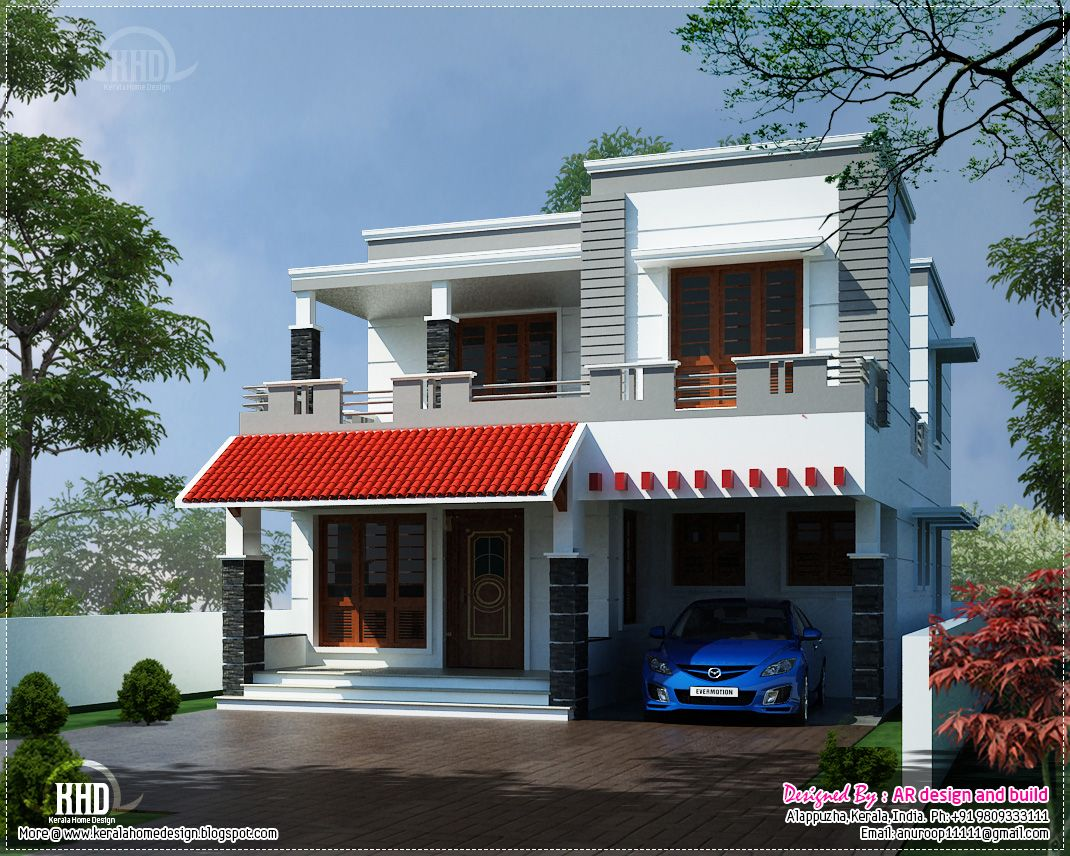 Modern house elevation sq feet kerala home design floor for Elevation of kerala homes