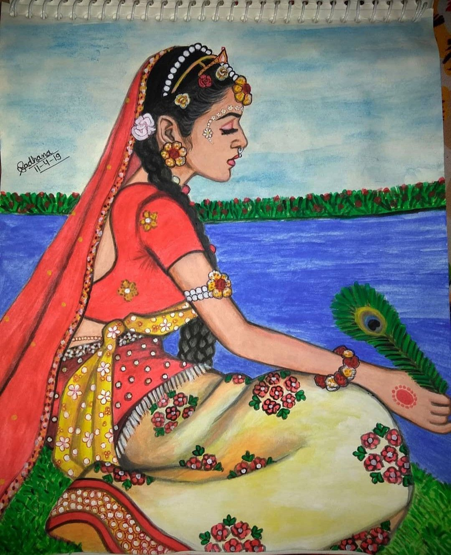 Radha Drawing Krishna Drawing Girl Drawing Sketches Art Drawings Sketches Creative