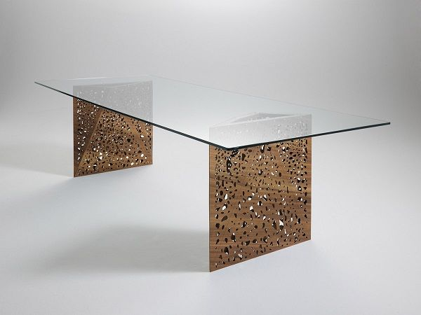 Living Room Contemporary Furniture Design Riddled Table Glass Top Laser Cut  Legs
