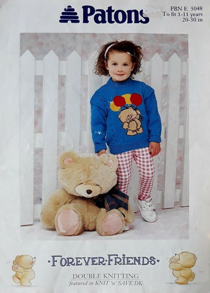 Knitting pattern Patons 5048 childs DK Forever Friends ...
