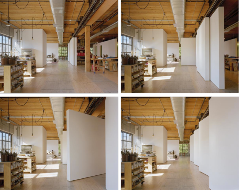 Art Studio with sliding and rotating walls