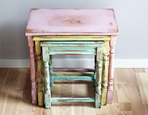 Shabby Chic Nesting Tables Set Of 3 Coffee Tables Night Shabby Chic Nest Of Tables Shabby Chic Bedroom Furniture