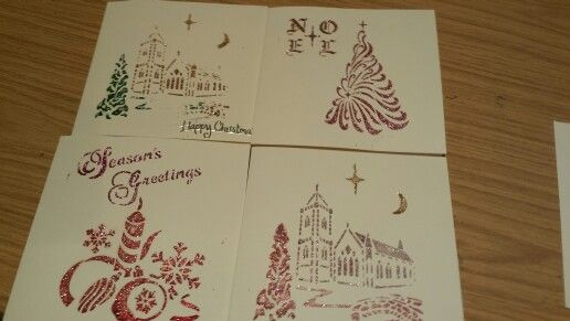Start of my Christmas Cards using Glitz Craft Paste and stencils