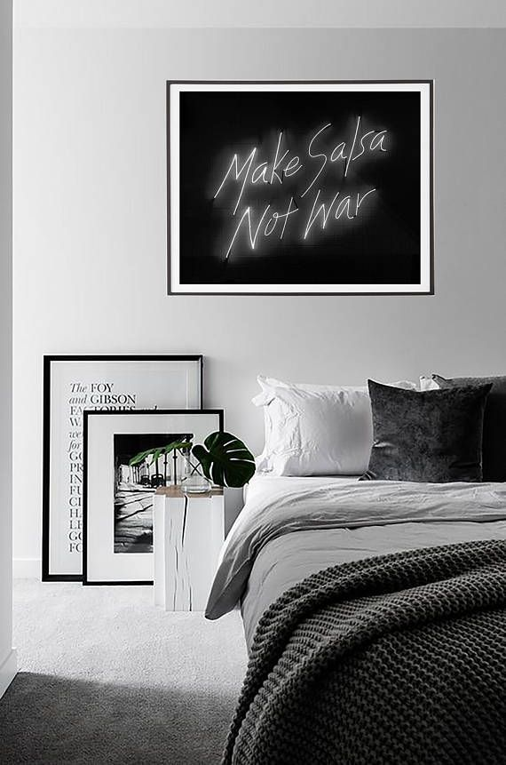 Make salsa not war quote wall art black and white print quote print