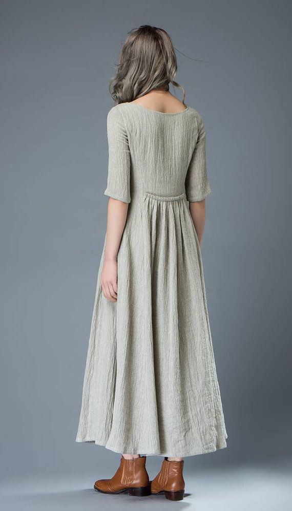 Ongekend Casual Linen Dress - Pale Gray Everyday Comfortable Fit & Flare YD-05