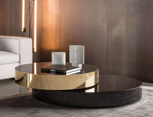Mesa Benson moka/dorado Una elegante mesa de centro, diseño de ...