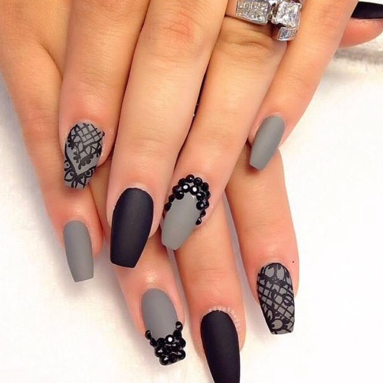 Huda Beauty Matte Black & Grey Nails | Nails | Pinterest | Gray ...