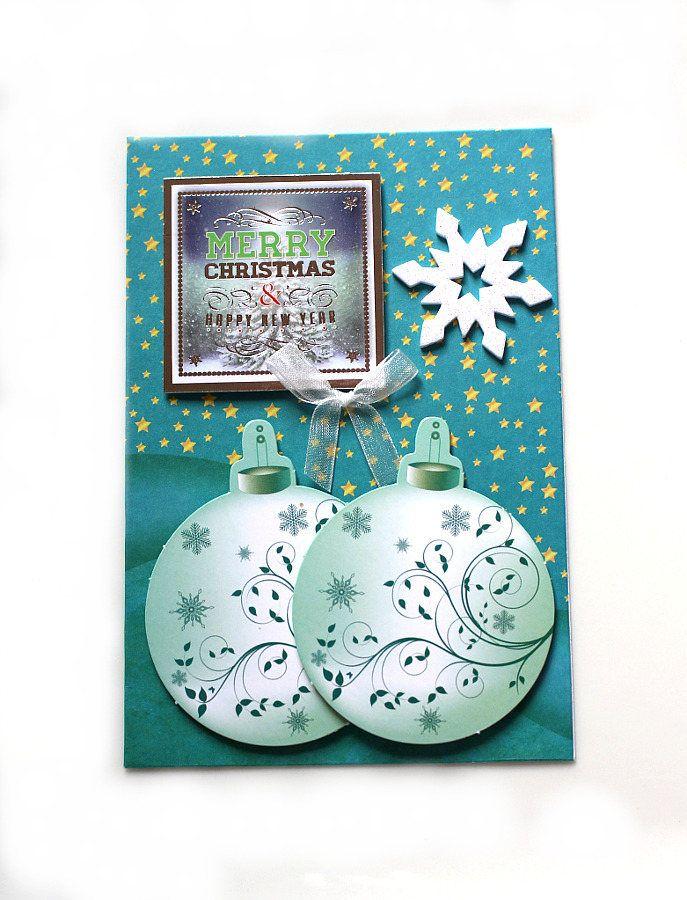 3D Weihnachtskarte Merry Christmas türkis silber gold handgefertigt ...